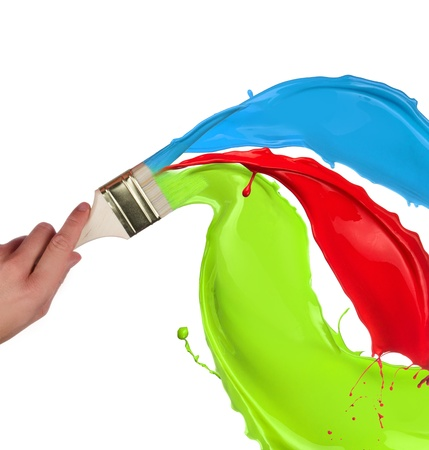 Schizzi di vernice colorata isolato su sfondo bianco Archivio Fotografico