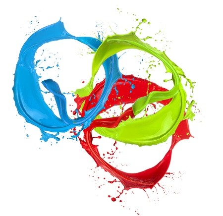 Colored paint splashes rings isolated on white background photo