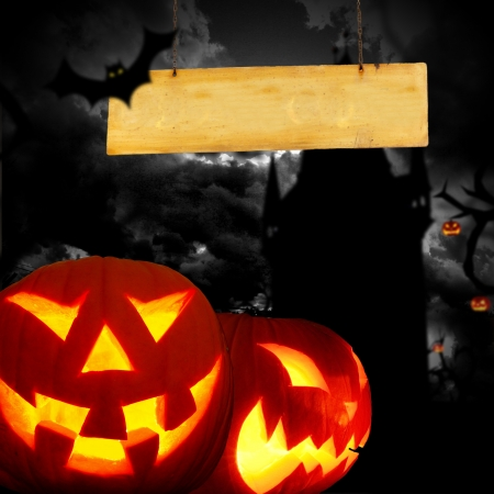 scary pumpkin: Glowing pumpkins in a dark scary forest with cemetery