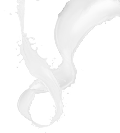 Milk splash over white background photo