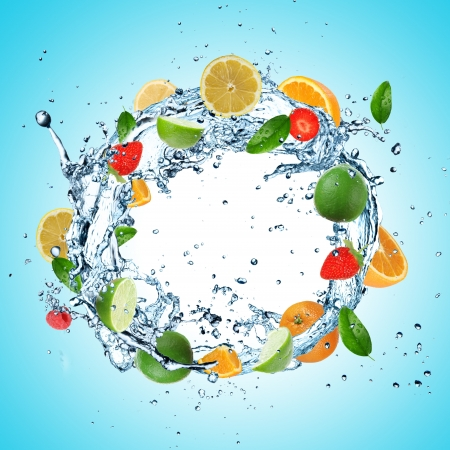 water feature: Fruit in water explosion Stock Photo