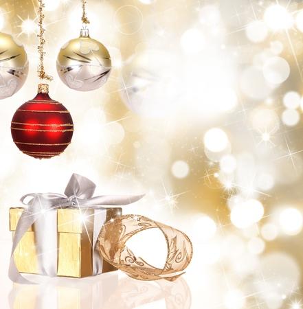 decorates: Christmas gift box with christmas balls