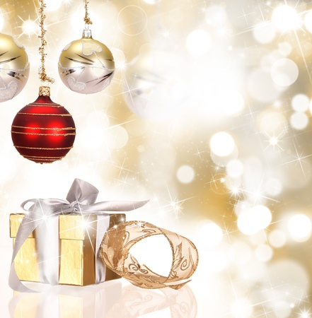 decorate: Christmas gift box with christmas balls