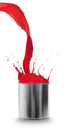 paint tin: Red paint splashing out of can, isolated on white background