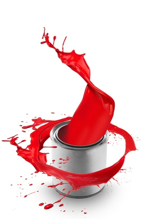 Red paint splashing out of can, isolated on white background photo