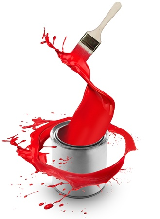 paint can: Red paint splashing out of can, isolated on white background