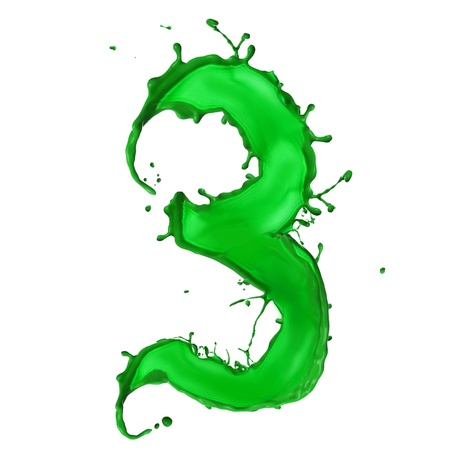 Green Liquid alphabet number 3 photo