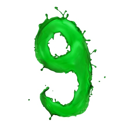 Green Liquid alphabet number 9 photo