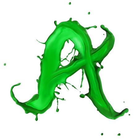 painful: Green Liquid alphabet letter A Stock Photo
