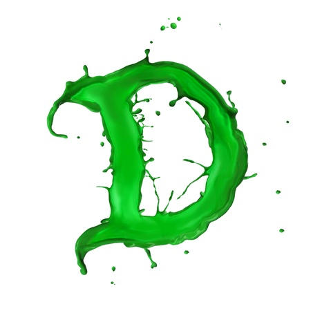 Green Liquid alphabet letter D