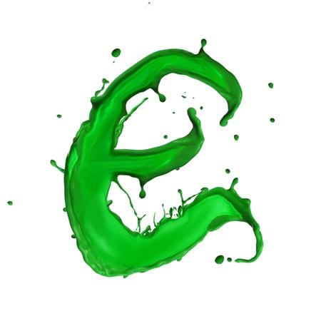 e alphabet: Green Liquid alphabet letter E