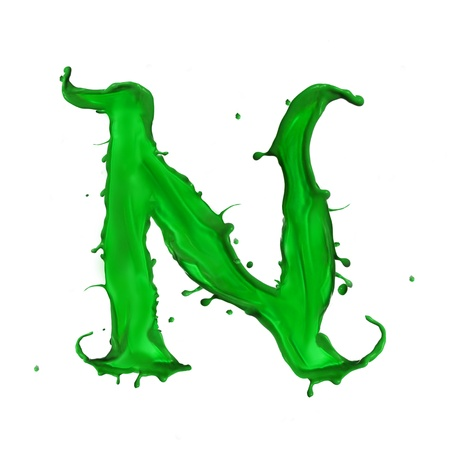Green Liquid alphabet letter N