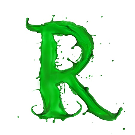 letter r: Green Liquid alphabet letter R Stock Photo