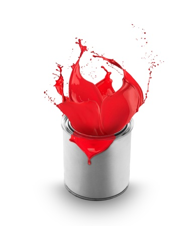 dripping paint: Red paint splashing out of can, isolated on white background