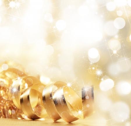 축하: 황금 크리스마스 리본 스톡 콘텐츠