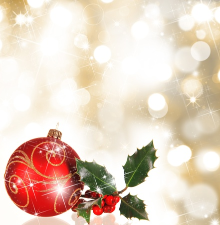 Christmas background with holly branch