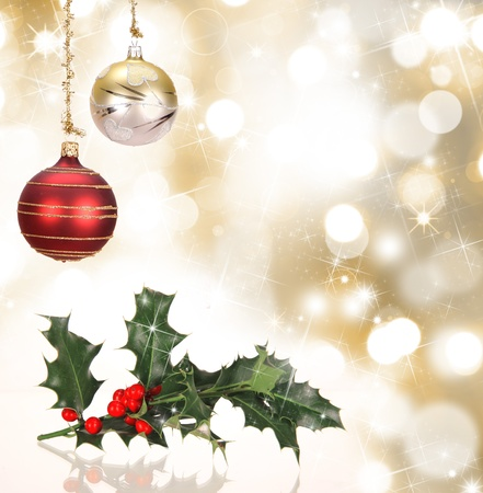 champagne flutes: Christmas background with holly branch Stock Photo