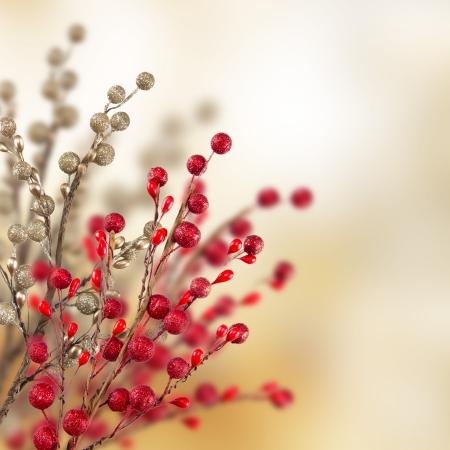 motivos navideños: Oro de la Navidad y decoración roja