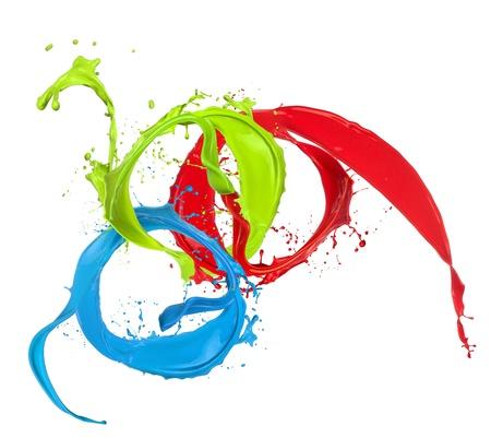 paintbrush spray: Colored paint splashes rings isolated on white background