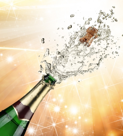 champagne cork: Close-up of champagne explosion