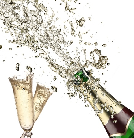 brindisi champagne: Close-up di esplosione champagne