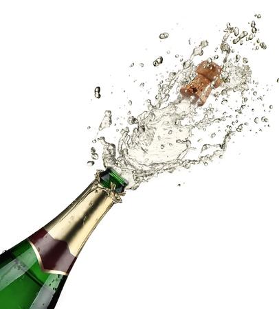 botella champagne: Primer plano de la explosión champán Foto de archivo