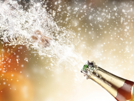 champagne toast: Close-up of champagne explosion