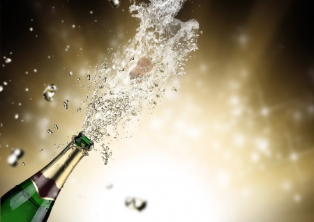 champagne bubbles: Close-up of champagne explosion