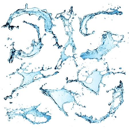 Super size Water splashes collection over white background Stock Photo