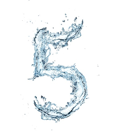 number five: Number of water alphabet  Stock Photo
