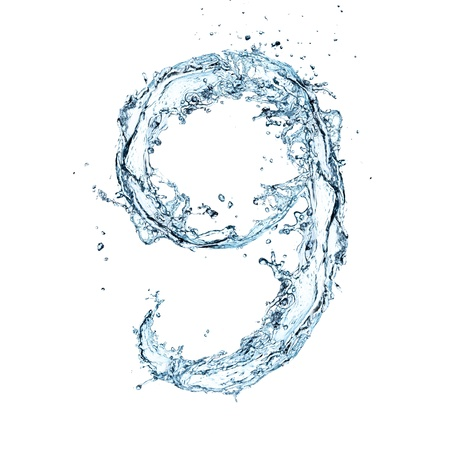 nine: Number of water alphabet  Stock Photo