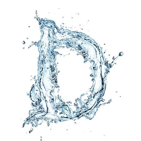 아쿠아: 물 알파벳의 편지 스톡 사진