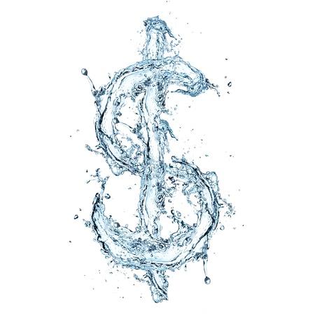 dolar: Agua s�mbolo de d�lar Foto de archivo