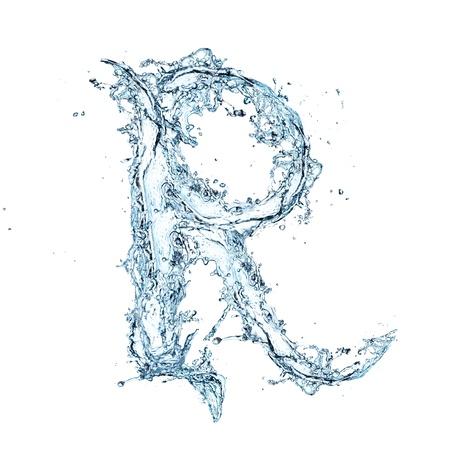 agua liquida carta: Carta del alfabeto de agua Foto de archivo