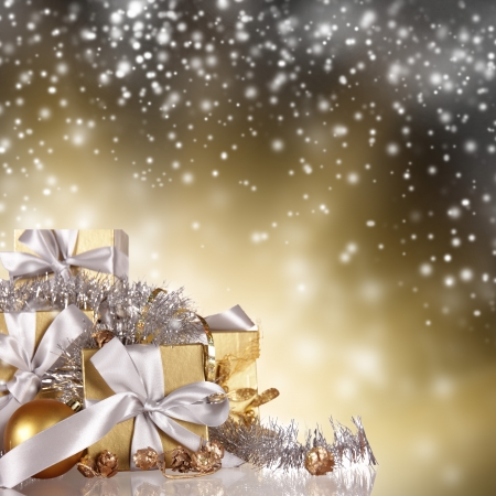 celebration champagne: Christmas gifts with shining background Stock Photo