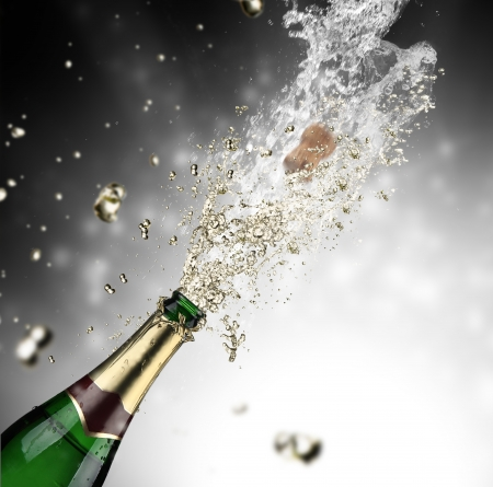 Close-up of champagne exploze photo