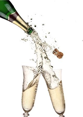 Coppia di flauti champagne fare un tuffo Champagne