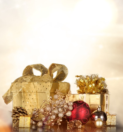 Christmas gifts with shining background photo