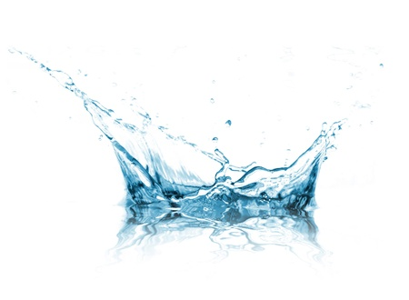 water stream: Water splash over white background Stock Photo