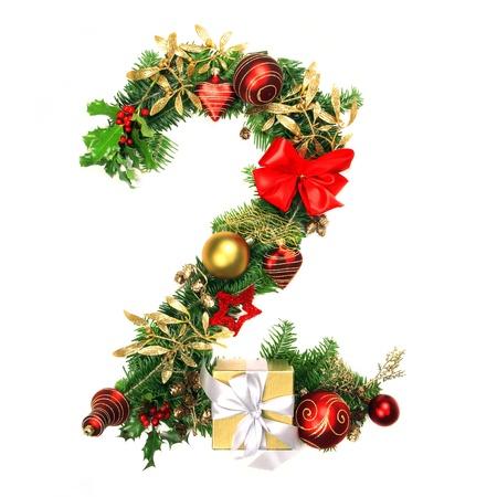 numero: Christmas Alphabet Number 2 Stock Photo