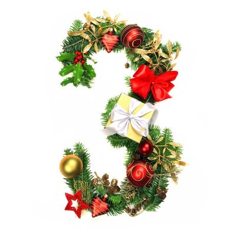 numero: Christmas Alphabet Number 3