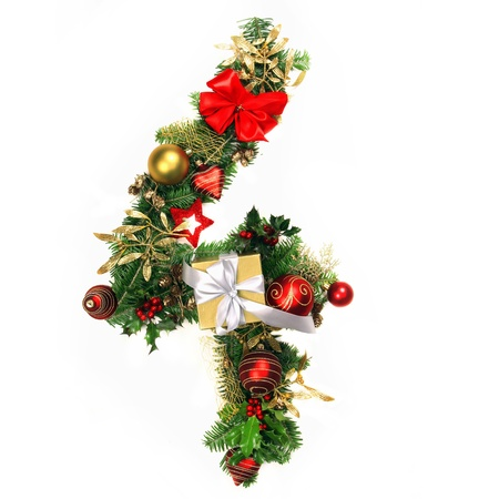 four month: Christmas Alphabet Number 4 Stock Photo