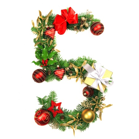 five petals: Christmas Alphabet Number 5