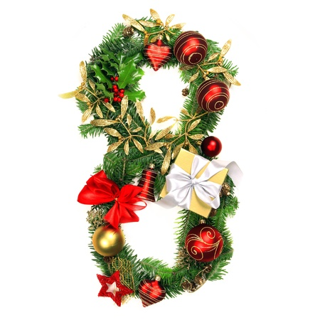 bola ocho: Christmas Alphabet N�mero 8 Foto de archivo