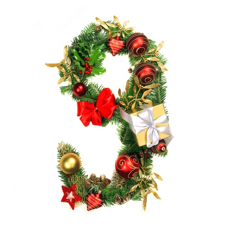 numero nueve: Christmas Alphabet Número 9 Foto de archivo