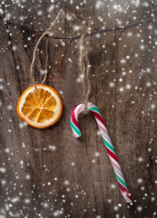 Christmas sweets over wooden background photo