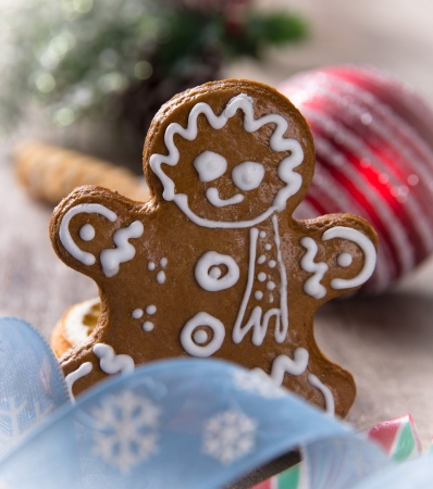 Traditional gingerbread smiling man Stock Photo - 16543319