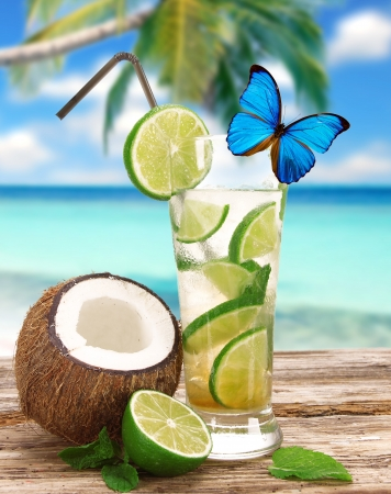 caipirinha: Fresh mojito cocktail on the beach Stock Photo