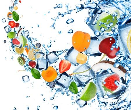 Fresh fruit splash with ice cubes photo