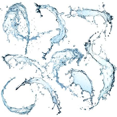 splashing: High resolution Water splashes collection over white background